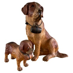 Midcentury Hand Carved Black Forest Papa & Junior Saint Bernhard Dog Sculptures