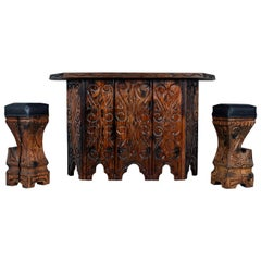 Midcentury Hand Carved Witco Tiki Bar and Barstool Set by William Westenhaver