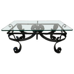 Midcentury Hand Forged Wrought Iron Brutalist Cocktail Coffee Table