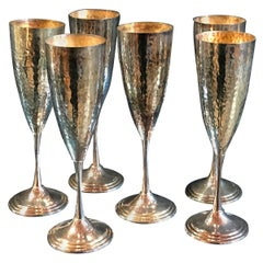 Midcentury Hand-Hammered Silver Set of 6 Glasses, Italy, 1950s