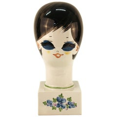 Midcentury Hand-Painted Ceramic Wig or Hat Stand