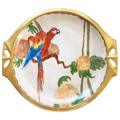 Midcentury Hand Painted Parrot Plate by Lorenz Hutschenreuther Bavaria, Signed