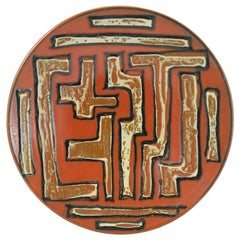 Midcentury Hand Painted Wall Decoration Ceramic Plate, 1970s