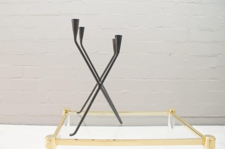 Hand-Crafted Midcentury Handcrafted Iron Candleholder from Germany, 1950s For Sale
