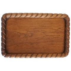 Midcentury Handcrafted Solid Oakwood Tray or Platter, France, 1950s