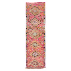 Midcentury Handmade Colorful Oushak Runner with Tribal Design