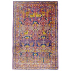 Midcentury Handmade Indian Whimsical Pictorial Large Room Size Rug