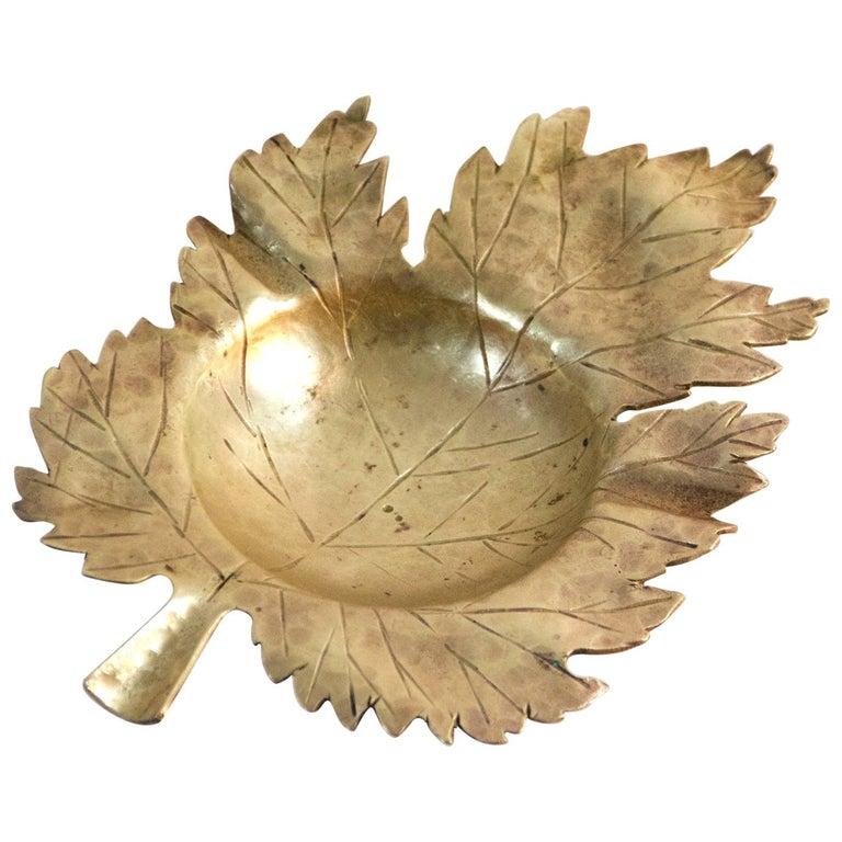 Midcentury Handmade Maple Bronze Leaf Ashtray, Italy