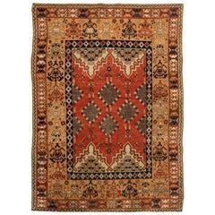 Midcentury Handmade Moroccan Rug with Tribal Design