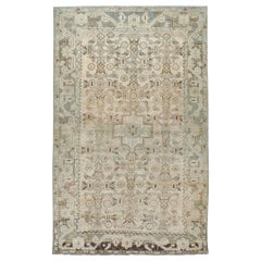 Midcentury Handmade Persian Accent Rug in Cream and Blue-Green