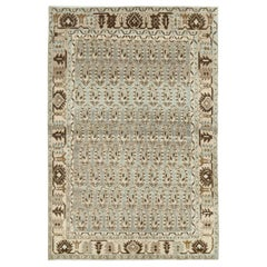 Midcentury Handmade Persian Accent Rug in Slate Blue, Beige, and Brown
