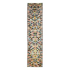 Midcentury Handmade Persian Art Deco Style Multicolored Checkerboard Runner