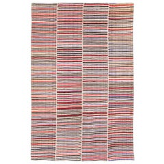 Midcentury Handmade Persian Colorful Striped Flat-Weave Accent Rug
