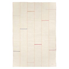 Midcentury Handmade Persian Flat-Weave Accent Rug in Cream