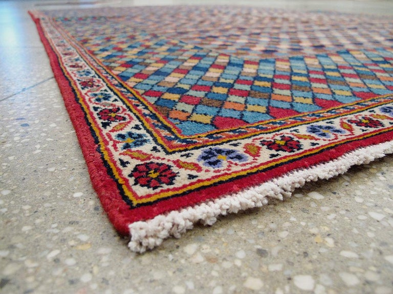 Midcentury Handmade Persian Kashan Art Deco Style Accent Rug For Sale 3