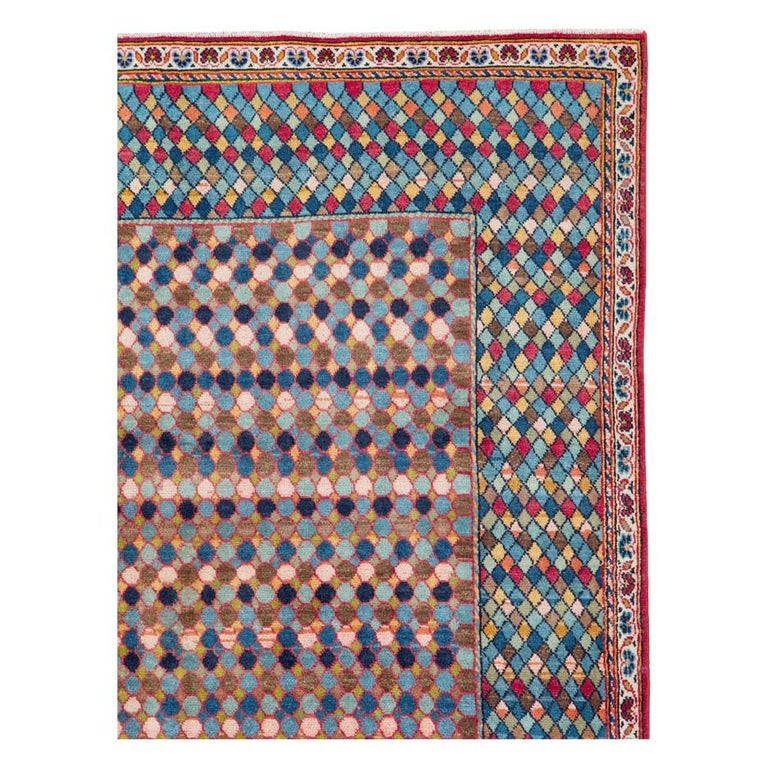 A vintage Persian Kashan Art Deco style modernist accent rug handmade during the mid-20th century.