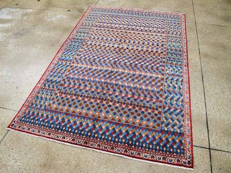 Hand-Knotted Midcentury Handmade Persian Kashan Art Deco Style Accent Rug For Sale