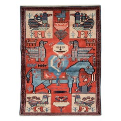 Midcentury Handmade Persian Pictorial Folk Rug in Red and Blue-Grey