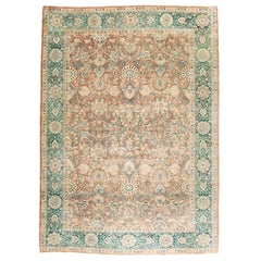 Midcentury Handmade Persian Room Size Area Rug in Green and Burnt Umber