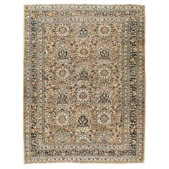 Midcentury Handmade Persian Room Size Area Rug in Light Brown and Light Blue