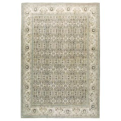 Midcentury Handmade Persian Room Size Rug in Neutral Earth Tones