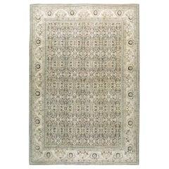 Midcentury Handmade Persian Room Size Rug in Neutral Earth Tones