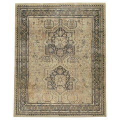 Midcentury Handmade Persian Room Size Rug Influenced by Tribal Caucasian Rugs