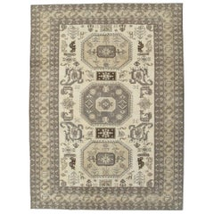 Midcentury Handmade Persian Tribal Room Size Rug in Neutral Colors