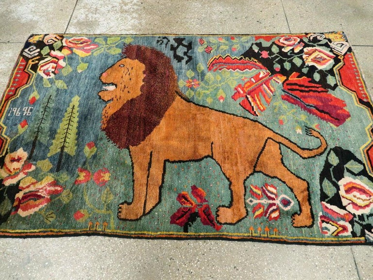 Modern Midcentury Handmade Pictorial Lion Rug in Cerulean Blue and Seafoam Green For Sale