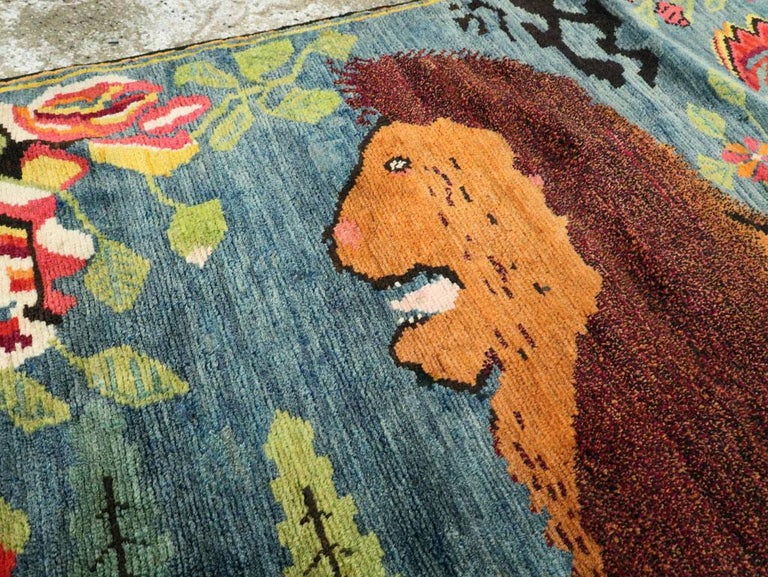 Caucasian Midcentury Handmade Pictorial Lion Rug in Cerulean Blue and Seafoam Green For Sale