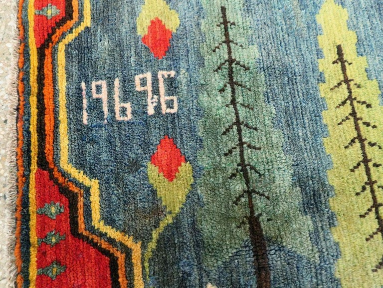 Hand-Knotted Midcentury Handmade Pictorial Lion Rug in Cerulean Blue and Seafoam Green For Sale