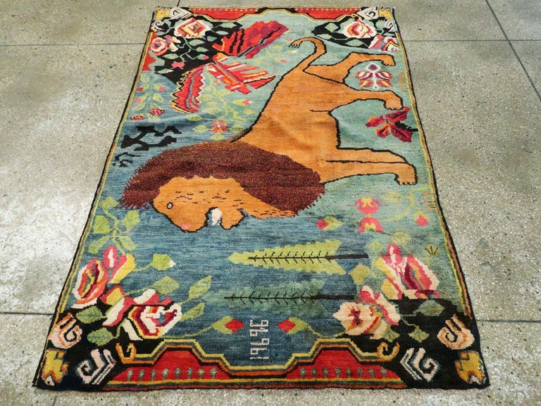 Midcentury Handmade Pictorial Lion Rug in Cerulean Blue and Seafoam Green In Good Condition For Sale In New York, NY