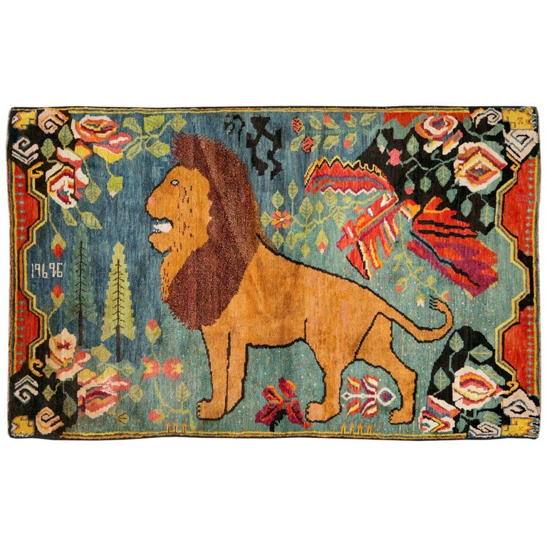Midcentury Handmade Pictorial Lion Rug in Cerulean Blue and Seafoam Green For Sale