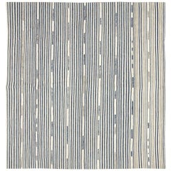 Midcentury Handmade Square Persian Cotton Flat-Weave in White, Blue, and Taupe