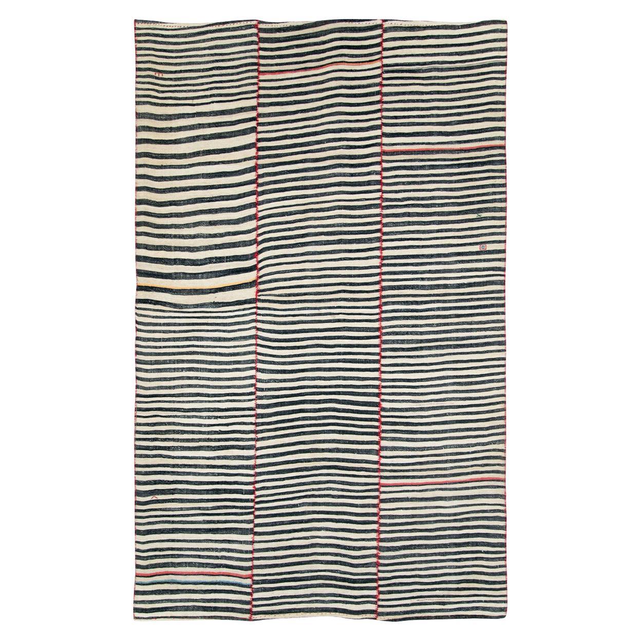 Midcentury Handmade Tribal Persian Zebra Striped Flat-Weave Accent Rug