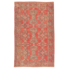 Midcentury Handmade Turkish Oushak Long and Narrow Carpet in Red and Taupe