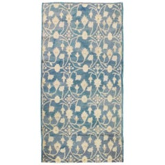Midcentury Handmade Turkish Throw Rug in Cerulean Blue and Ivory