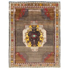 Midcentury Handmade Turkish Tribal Room Size Rug in Brown Yellow and Red
