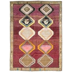 Midcentury Handmade Turkish Tribal Rug in Purple