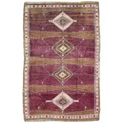 Midcentury Handmade Turkish Tribal Room Size Rug in Plum Purple