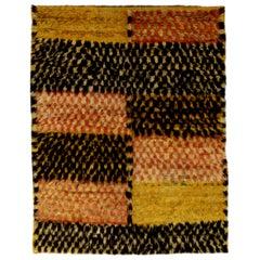 Midcentury Handwoven Moroccan Shaggy Wool Rug
