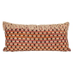 Midcentury Handwoven Tapestry Pillow with Fringe