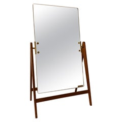 Midcentury Hans-Agne Jakobsson Brass and Teak Large Rare Table Mirror, Sweden