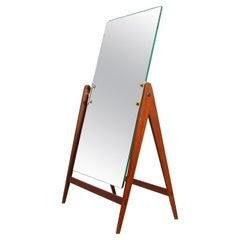 Midcentury Hans-Agne Jakobsson Teak Brass Table Vanity Mirror, Markaryd, 1960s