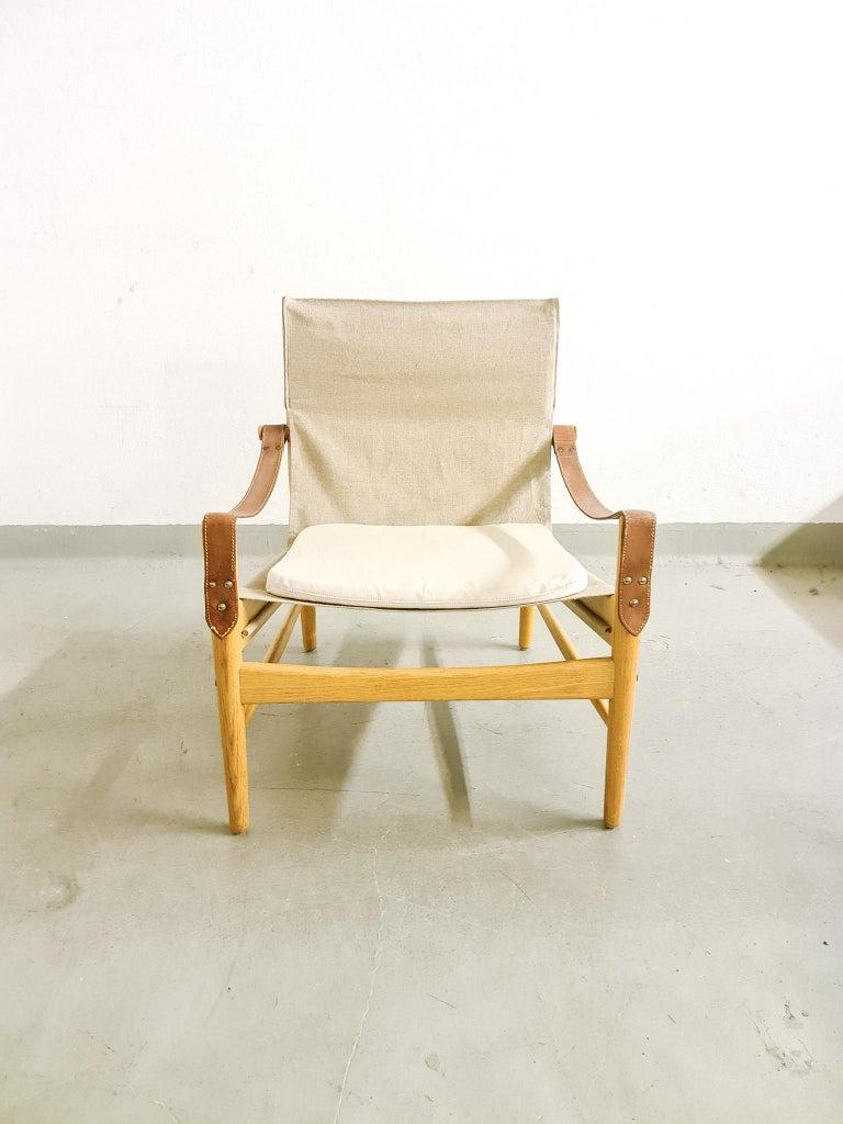 Linen Midcentury Hans Olsen 'Antilope' Safari Lounge Chair, 1960s For Sale
