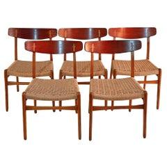 Midcentury Hans Wegner CH23 Chairs in Oak and Teak