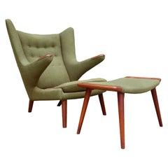 Midcentury Hans Wegner Papa Bear Chair and Ottoman
