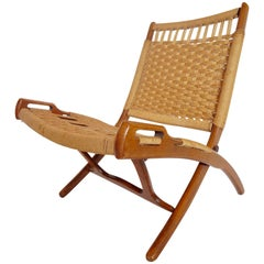 Midcentury Woven Folding Chair with Handles