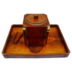 Midcentury Hard Wood Ice Bucket with Matching Tray, 1970s