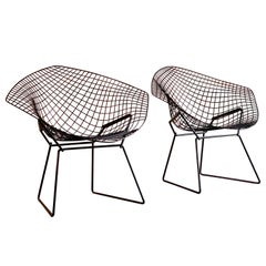 Midcentury Harry Bertoia Diamond Chairs by Knoll, circa 1970s